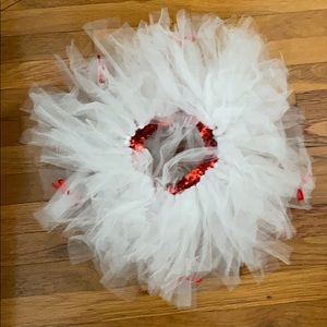 White tutu with red bows